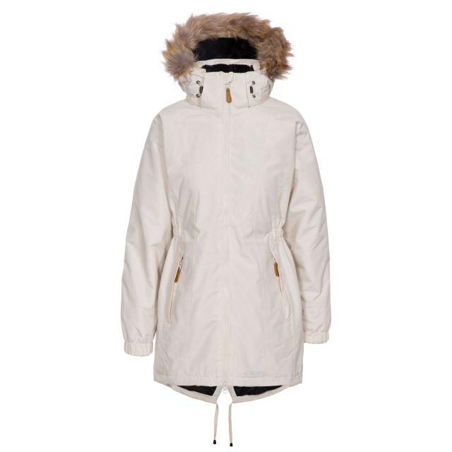 Celebrity Women's Fleece Lined Parka Jacket in Tan, Front view on mannequin