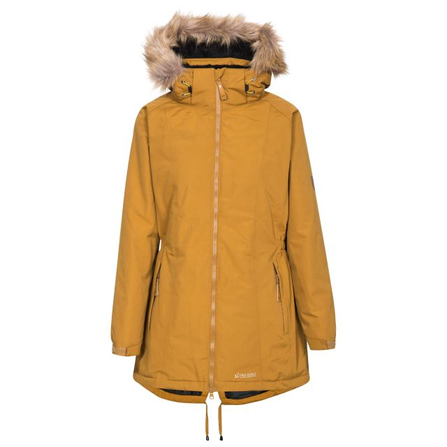 Celebrity Women's Fleece Lined Parka Jacket in Yellow, Front view on mannequin