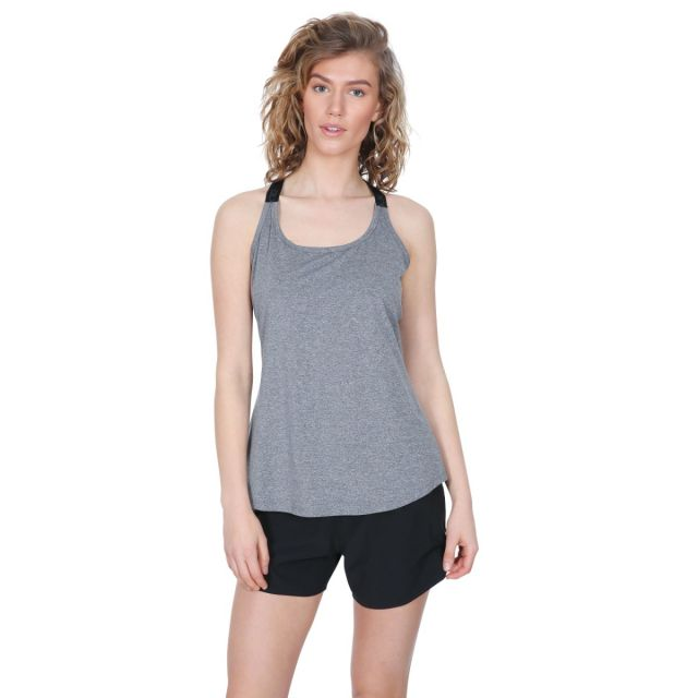 Celise Women's DLX Quick Dry Sleeveless Active T-Shirt in Light Grey