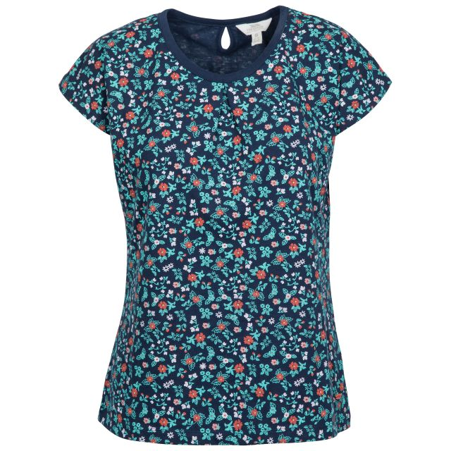 Charlene Women's Printed Cap Sleeve T-shirt in Navy