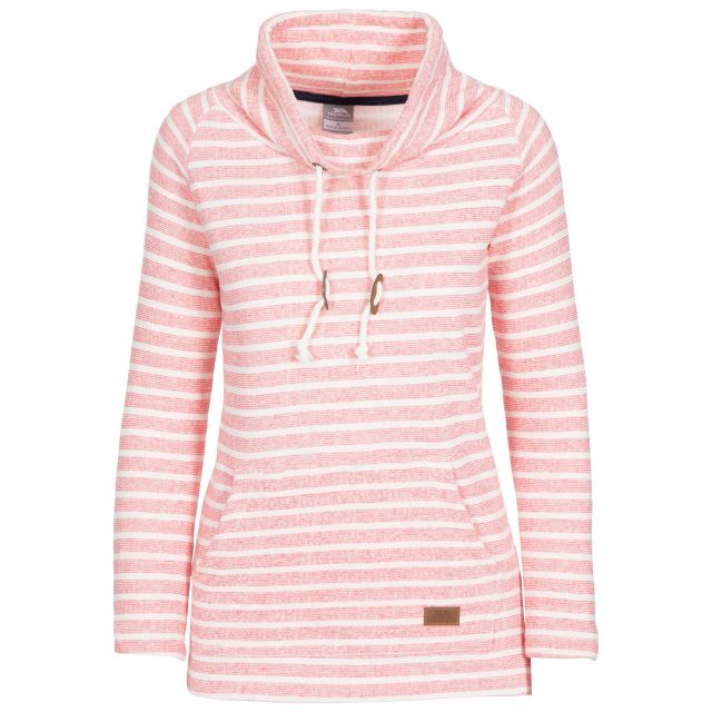 Cheery Women's Striped Pull Over Hoodie in Peach, Front view on mannequin