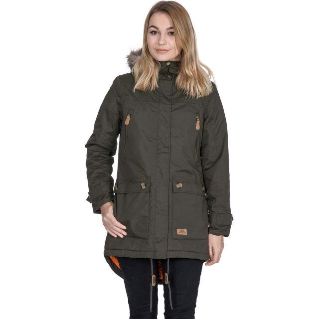 Clea Women's Waterproof Parka Jacket in Khaki