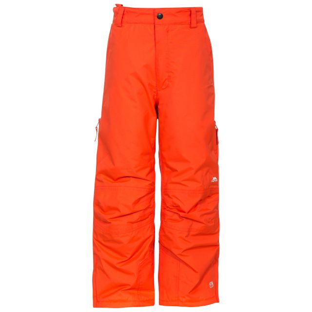 Contamines Kids' Salopettes in Orange, Front view on model