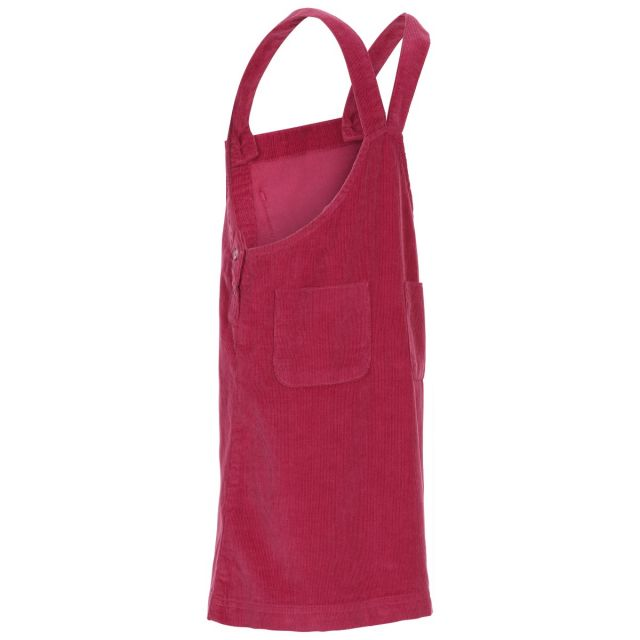 Trespass Kids Sleeveless Dress Pinafore Corduroy Convince in Berry