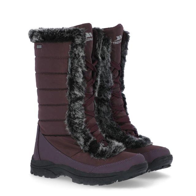 Coretta Women's Fleece Lined Waterproof Snow Boots in Purple