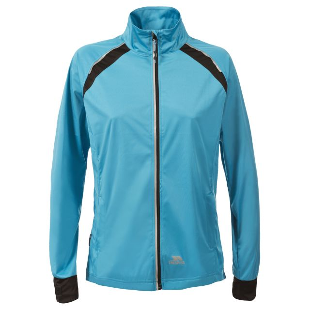 Trespass Womens Active Jacket Windproof Covered Blue, Front view on mannequin