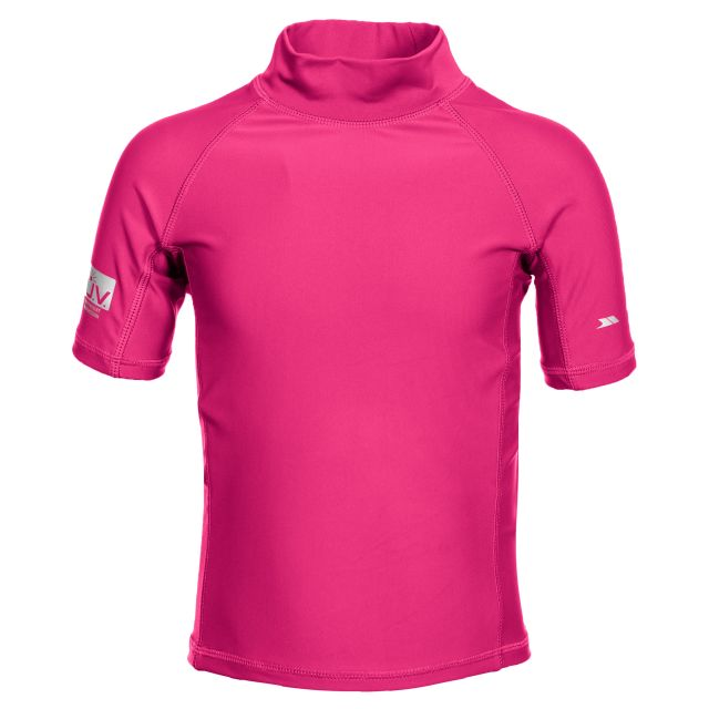 Crew Kids' Rash Guard Swim Top with UV Protection in Pink