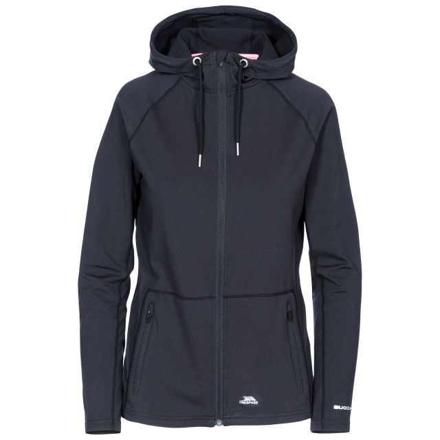 Dacre Women's Hooded Active Jacket in Black, Front view on mannequin
