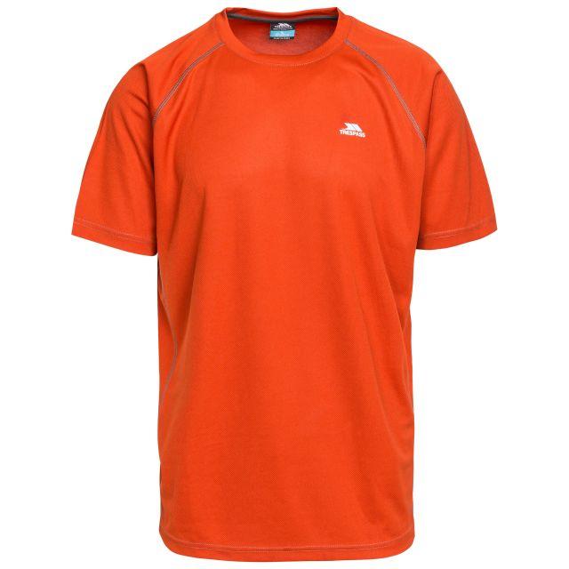 Debase Men's Quick Dry Active T-shirt in Orange, Front view on mannequin