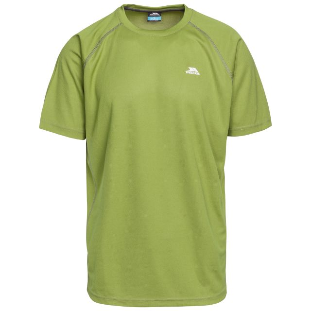 Debase Men's Quick Dry Active T-shirt in Green, Front view on mannequin