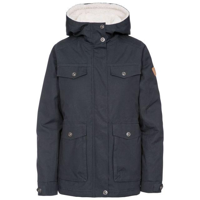 Devoted Women's Fleece Lined Waterproof Jacket in Grey, Front view on mannequin