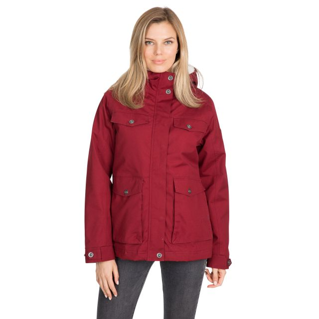 Devoted Women's Fleece Lined Waterproof Jacket in Red