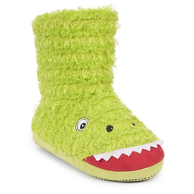 Dino Boys Slipper Boots in Green
