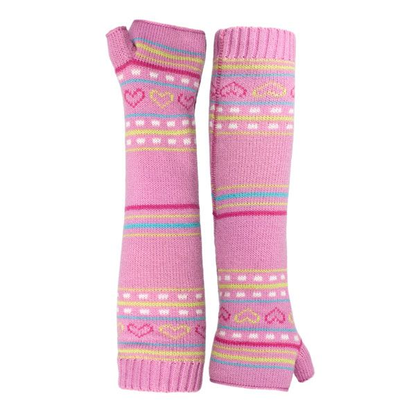 Dione Kids' Printed Fingerless Gloves in Light Pink