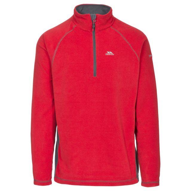 Donald II Adults' 1/2 Zip Fleece in Red, Front view on mannequin