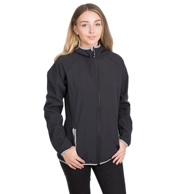 Emery Women's Hooded Softshell Jacket in Black