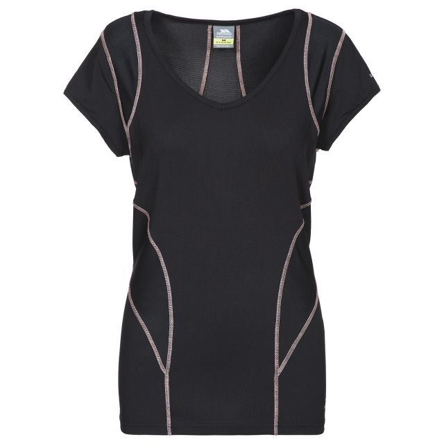 Erlin Women's V-Neck Active T-shirt in Black