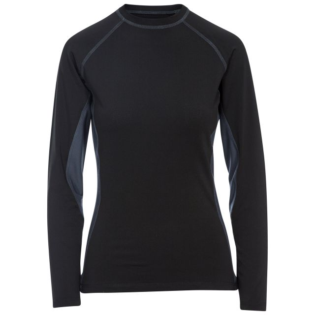 Exploit Women's Long Sleeve Thermal T-shirt in Black, Front view on mannequin