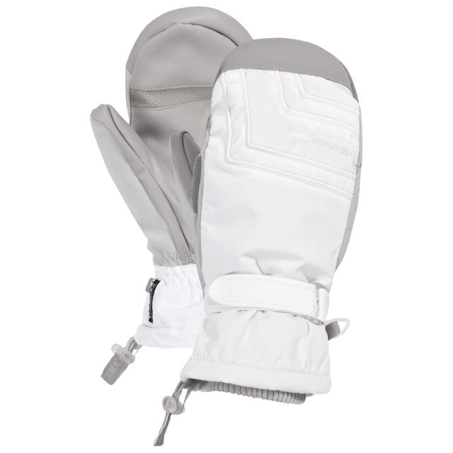 Getter Unisex Waterproof Ski Mittens in White
