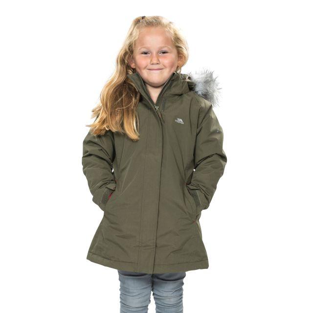 Fame Girls' Waterproof Parka Jacket in Khaki