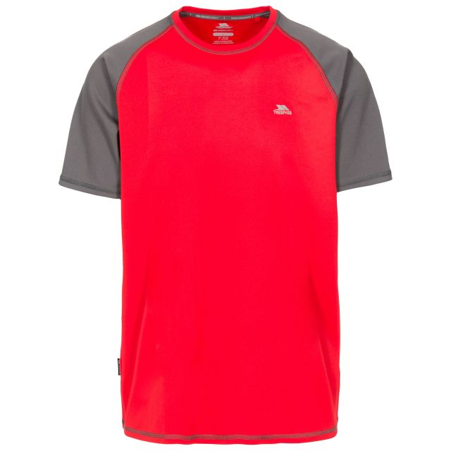 Firebrat Men's Quick Dry Active T-shirt in Red, Front view on mannequin