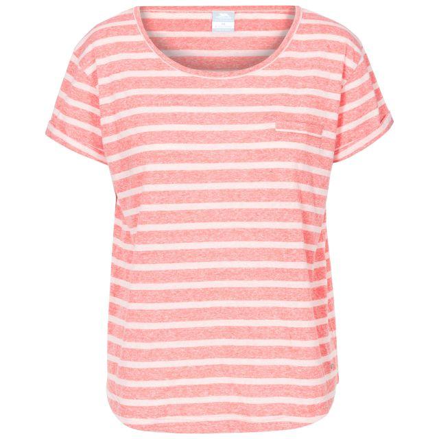 Fleet Women's Striped T-Shirt in Peach, Front view on mannequin
