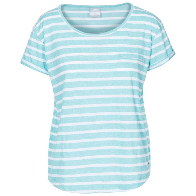 Fleet Women's Striped T-Shirt in Light Blue, Front view on mannequin