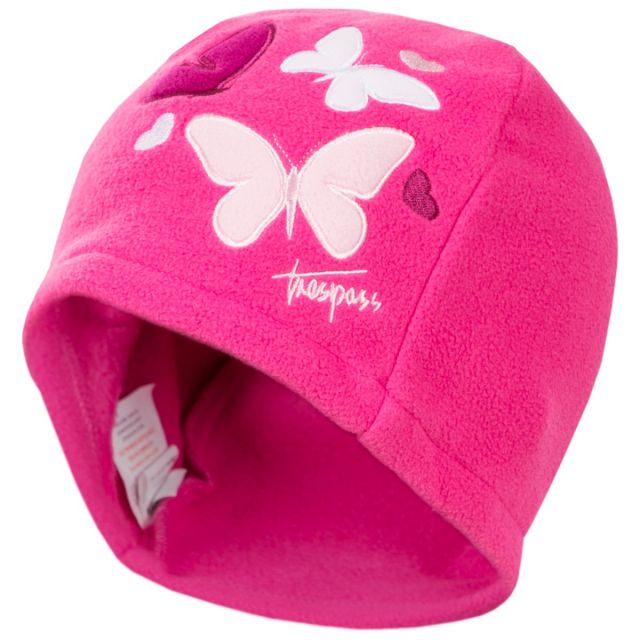 Flooty Kids' Fleece Beanie Hat in Pink, Hat at angled view