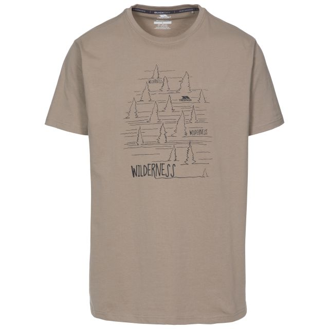 Forest Men's Printed Casual T-Shirt in Beige, Front view on mannequin