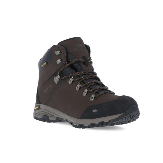 Gerrard Men's Waterproof Vibram Walking Boots in Brown, Angled view of footwear