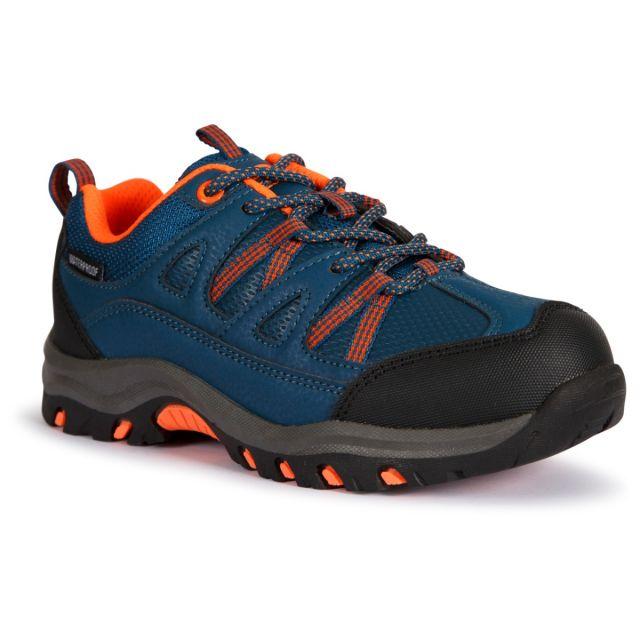 Trespass Kids Walking Shoes Waterproof Low Cut Gillon II Blue, Angled view of footwear