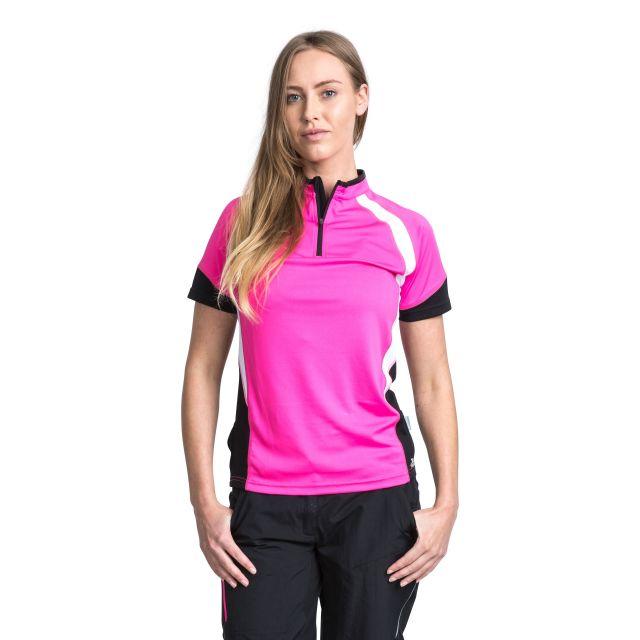 Harpa Women's 1/2 Zip Cycling T-Shirt in Pink