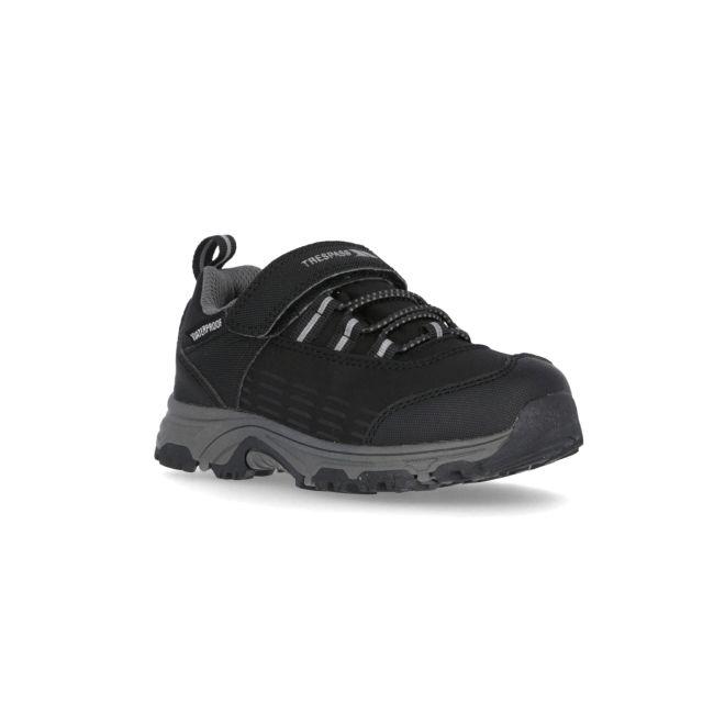 Harrelson Kids' Waterproof Walking Shoes in Black, Angled view of footwear