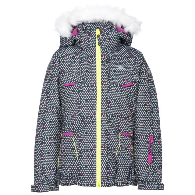 Hickory Kids' Printed Ski Jacket in Black, Front view on mannequin