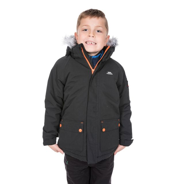 Trespass Boys Waterproof Parka Jacket in Black Holsey