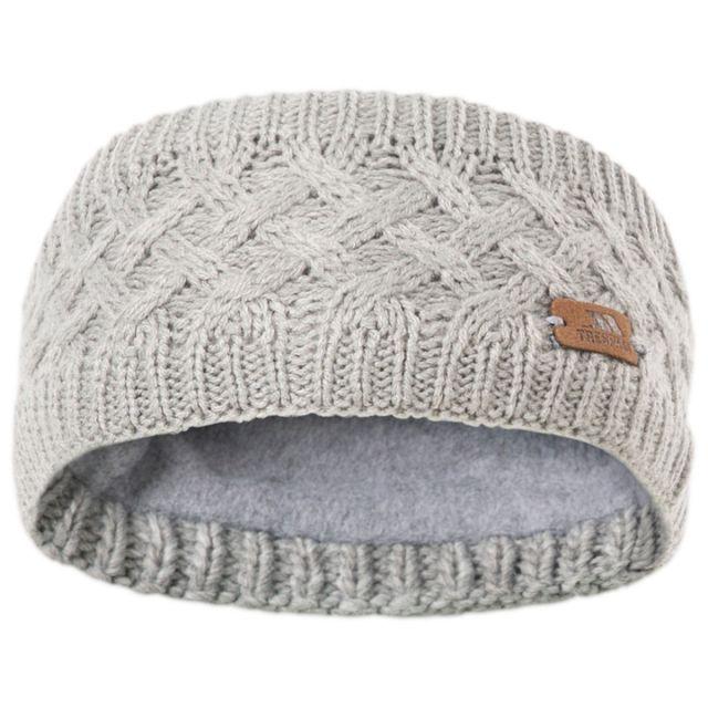 Trespass Adults Headband Microfleece Lined Cable Knit Jensen Dark Grey Marl