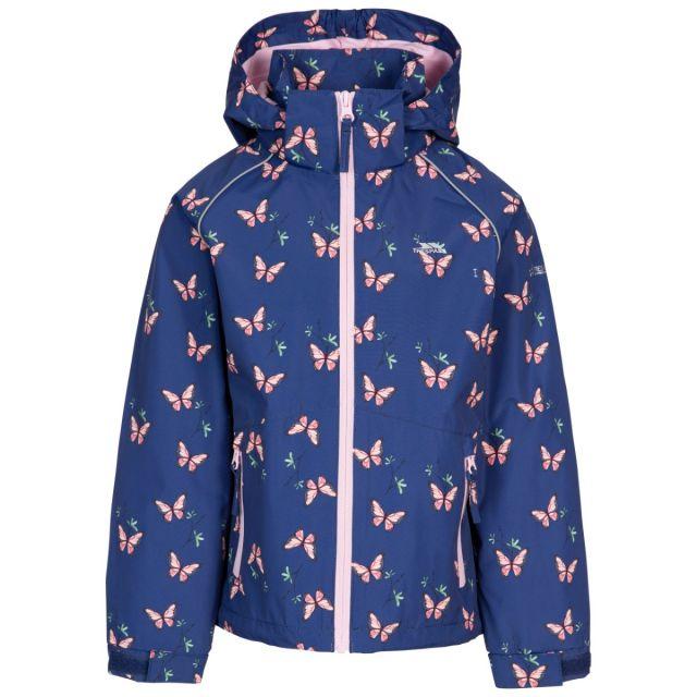 Trespass Girl's Printed Waterproof Jacket Joyful Dark Blue, Front view on mannequin