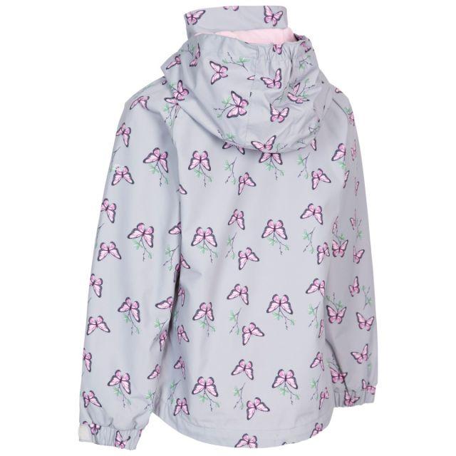 Trespass Girls Printed Waterproof Jacket Joyful Pale Grey
