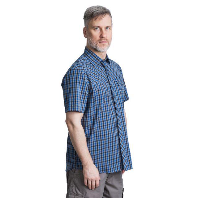 Juba Men's Short Sleeve Checked Shirt in Blue