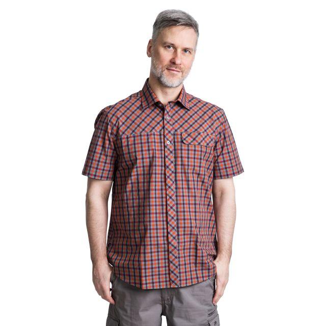 Juba Men's Short Sleeve Checked Shirt in Orange