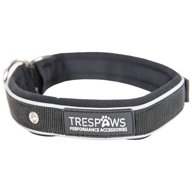 Keira Reflective Dog Collar in Black, Front view
