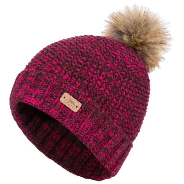 Kellisa Women's Bobble Hat in Purple, Hat at angled view