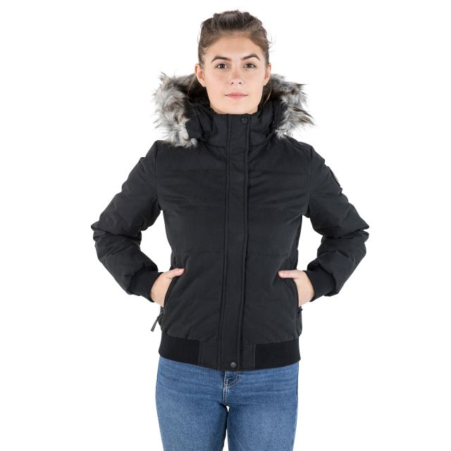 DLX Womens Down Jacket Hooded Kendrick in Black