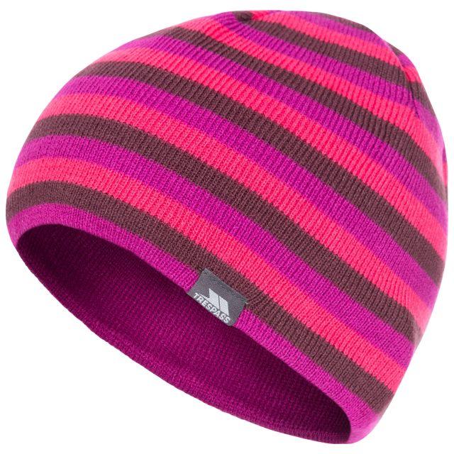Kezia Adults' Reversible Knitted Beanie Hat in Purple