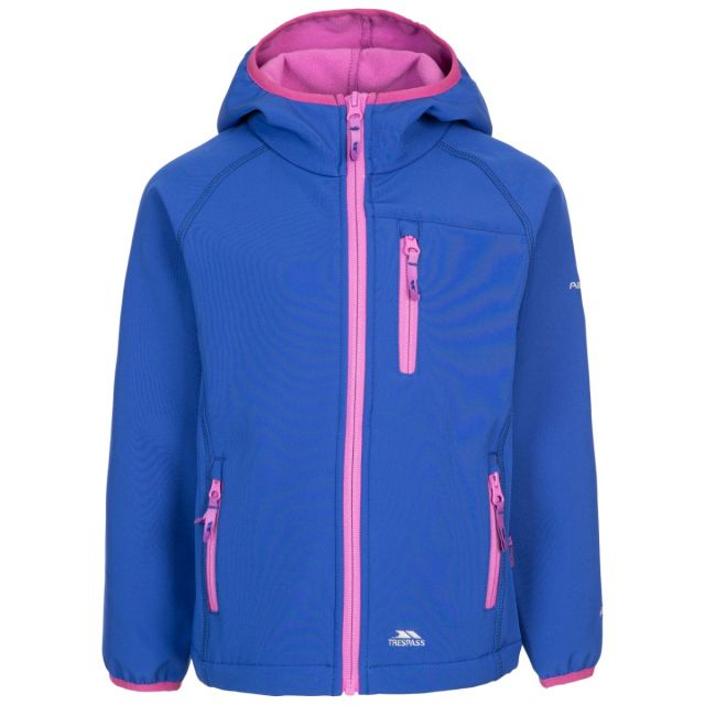 Trespass Kids' Unisex Softshell Jacket Kian Blue, Front view on mannequin