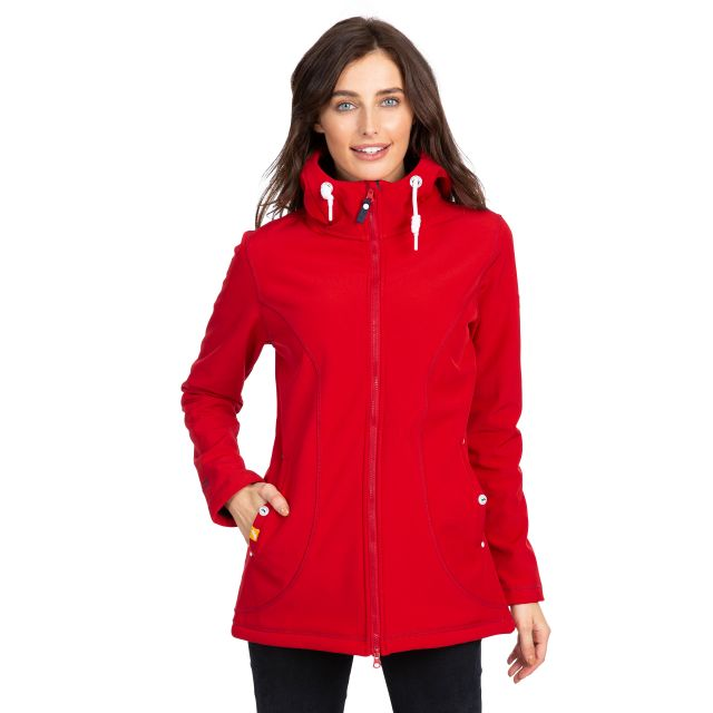 Trespass Womens Softshell Jacket Hooded Kinsley in Red