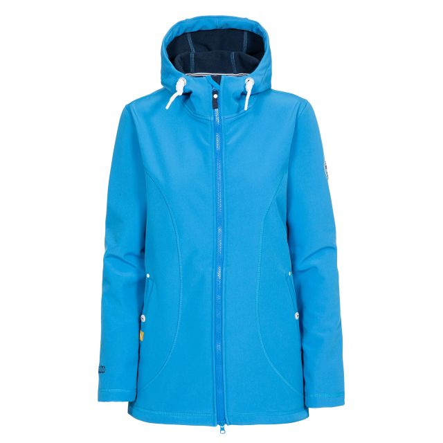 Trespass Womens Softshell Jacket Hooded Kinsley in Blue, Front view on mannequin