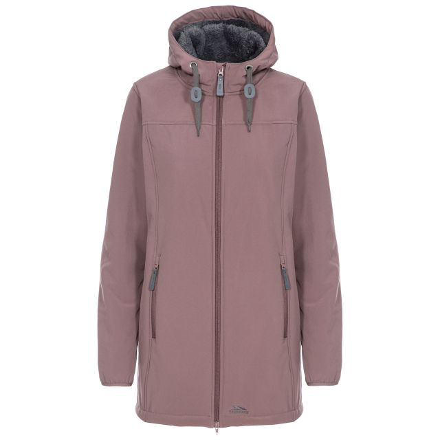 Trespass Womens Softshell Jacket Long Hooded Kristen in Light Purple