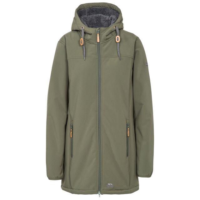 Kristen Women's Long Hooded Softshell Jacket in Khaki