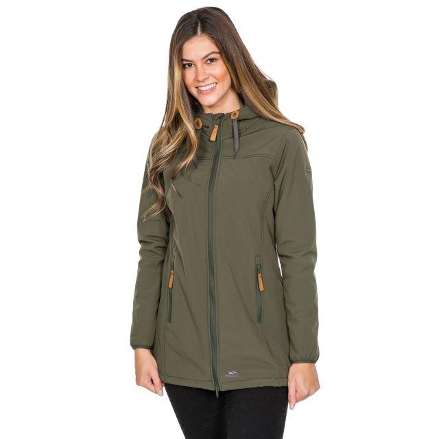 Trespass Womens Softshell Jacket Long Hooded Kristen in Khaki